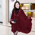 2016 New Autumn winter Korean style loose wool knit female cardigan shawl long cloak cape coat for Women 5colors DX131
