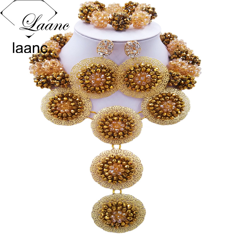 Laanc Golden and Gold AB Crystal African Necklace Nigerian Beads Jewelry Set for Women AL674