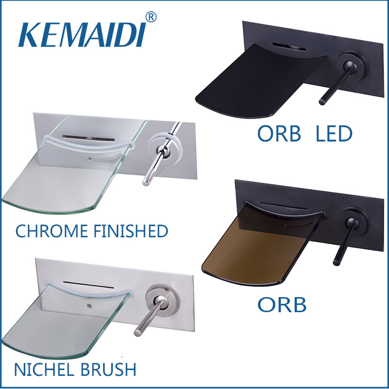 KEMAIDI Bathroom Faucet Nickel Water Tap Mixers Black Wall Mounted Brass Waterfall Bathtub Basin Tap Chrome Polished LED china sanitary ware chrome wall mount thermostatic water tap water saver thermostatic shower faucet
