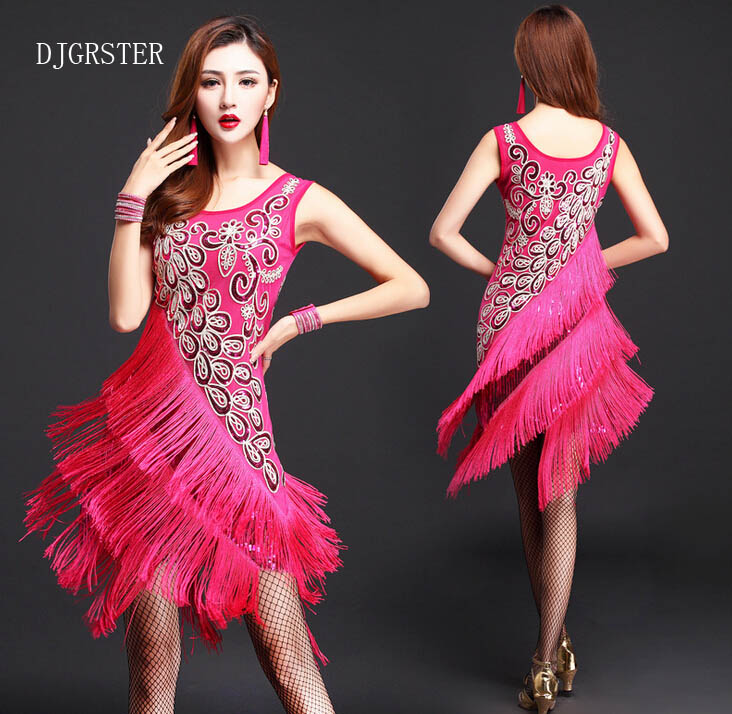 New Style Women Latin Dance Dress Latin Dance Costume Performance Wear Adult Tassel Sequins Clothing Fringe Tango Dress