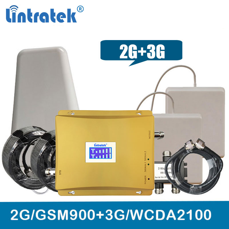 GSM + 3g Repetidor de Banda Dupla 900g WCDMA UMTS 2100 mhz Celular Signal Booster 2 3g Celular amplificador de sinal de Antena Para A Grande Cobertura