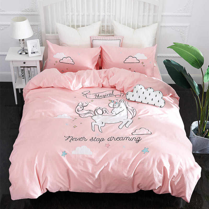 Cute Unicorn Bedding Set Embroidery Duvet Cover Sets Soft Bed Linen Flat Bed Sheet Set Pillowcase 4PCS twin queen king bed cover
