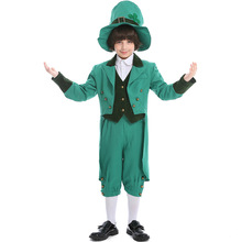 Umorden Kids Child St. Patricks Day Ireland Irish Leprechaun Costume for Boys Teen Boy Green Spirit Halloween Carnival Costumes