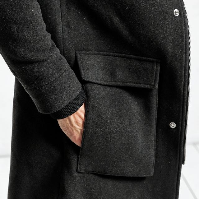 SIMWOOD 2018 Men Winter Jackets Men Longer Section Woolen Coats Men Jackets Outerwear Warm Single Woolen Brand Clothing DY017005