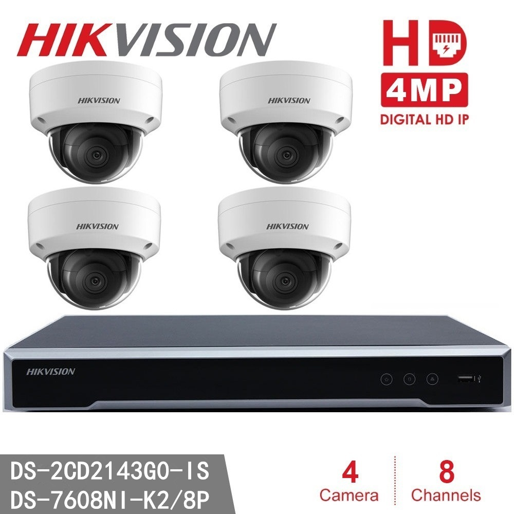 Hikvision 4MP Dome Camera DS-2CD2143G0-IS Network CCTV Camera + Hikvision NVR DS-7608NI-K2/8P 8MP Resolution Recording Recorder