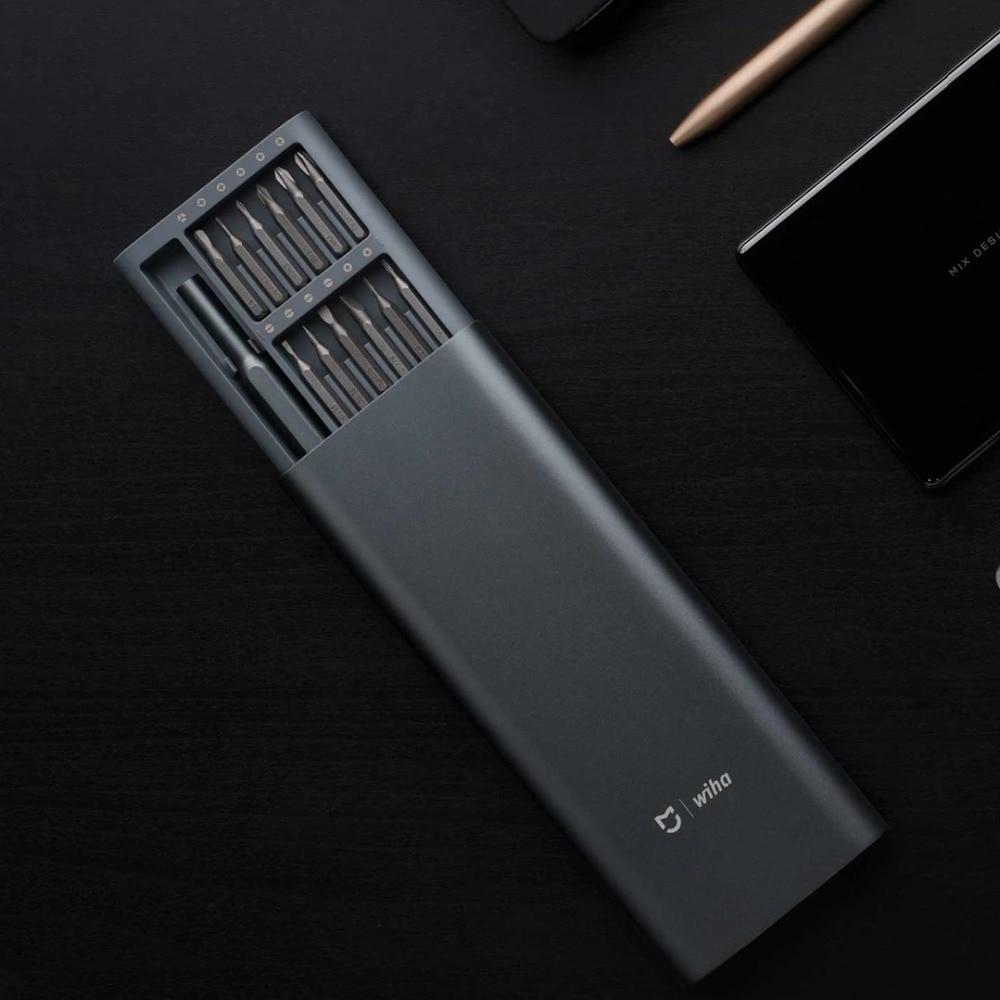 In Stock 2020 Xiaomi Mijia Wiha Daily Use Screw-driver Kit 24 Precision Magnetic Bits Alluminum Box Wiha DIY Screw Driver Set