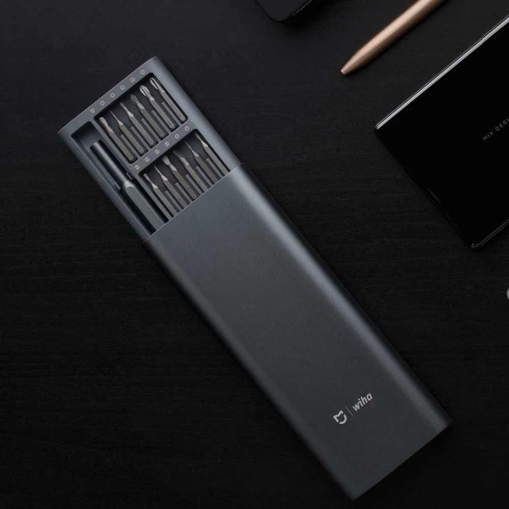 ในสต็อก 2020 Xiaomi Mijia Wiha ทุกวันใช้สกรูชุด 24 Precision Bits แม่เหล็กอลูมิเนียมกล่อง Wiha DIY สกรูชุด