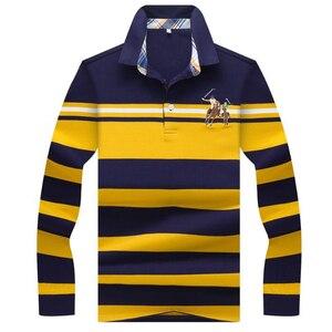 Image 5 - Outono inverno nova camisa polo de alta qualidade da marca de algodão polo masculino negócio casual listrado sólida camisa polo