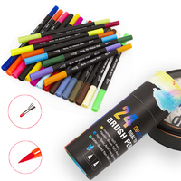 24 Colors Sketch Art Marker Dual Brush Pen With Paper Box