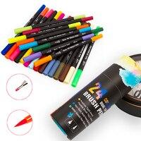 Caneta marcador de arte de esboço de 24 cores  caneta de escova dupla com caixa de papel
