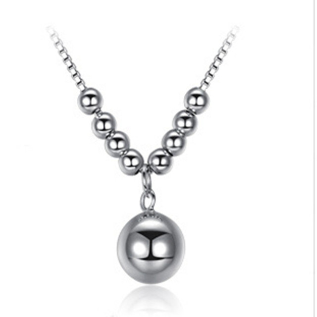 Silver Brief But Necklace Bead Transfer Jewelry Chain Pendant Birthday Gift Girlfriend Gifts