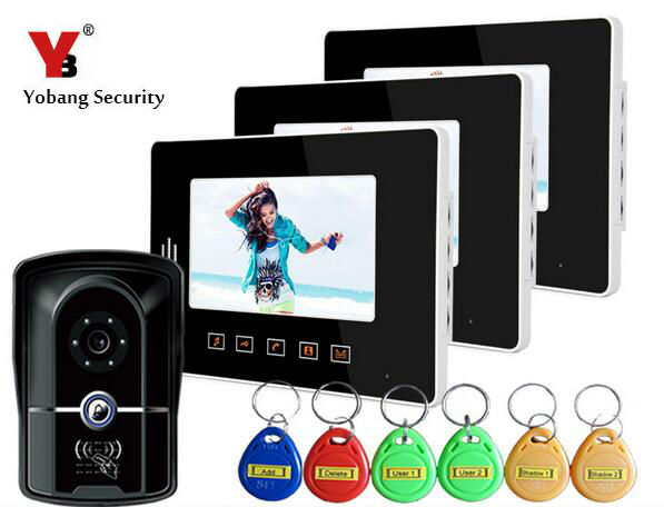 Yobang Security 7 inch Apartment/ Office/Villa Security Doorphone Kits With 5 RFID Keyfobs Color Video Doorbell Intercom system 7 inch video doorbell tft lcd hd screen wired video doorphone for villa one monitor with one metal outdoor unit night vision