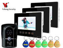 Yobang Security 7 inch Apartment/ Office/Villa Security Doorphone Kits With 5 RFID Keyfobs Color Video Doorbell Intercom system