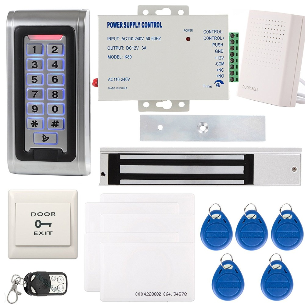 YobangSecurity Metal RFID Reader Access Control Security System Keypad ID Card & Magnetic Lock Door Bell Power Supply Remote original access control card reader without keypad smart card reader 125khz rfid card reader door access reader manufacture