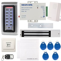 YobangSecurity Metal RFID Reader Access Control Security System Keypad ID Card & Magnetic Lock Door Bell Power Supply Remote