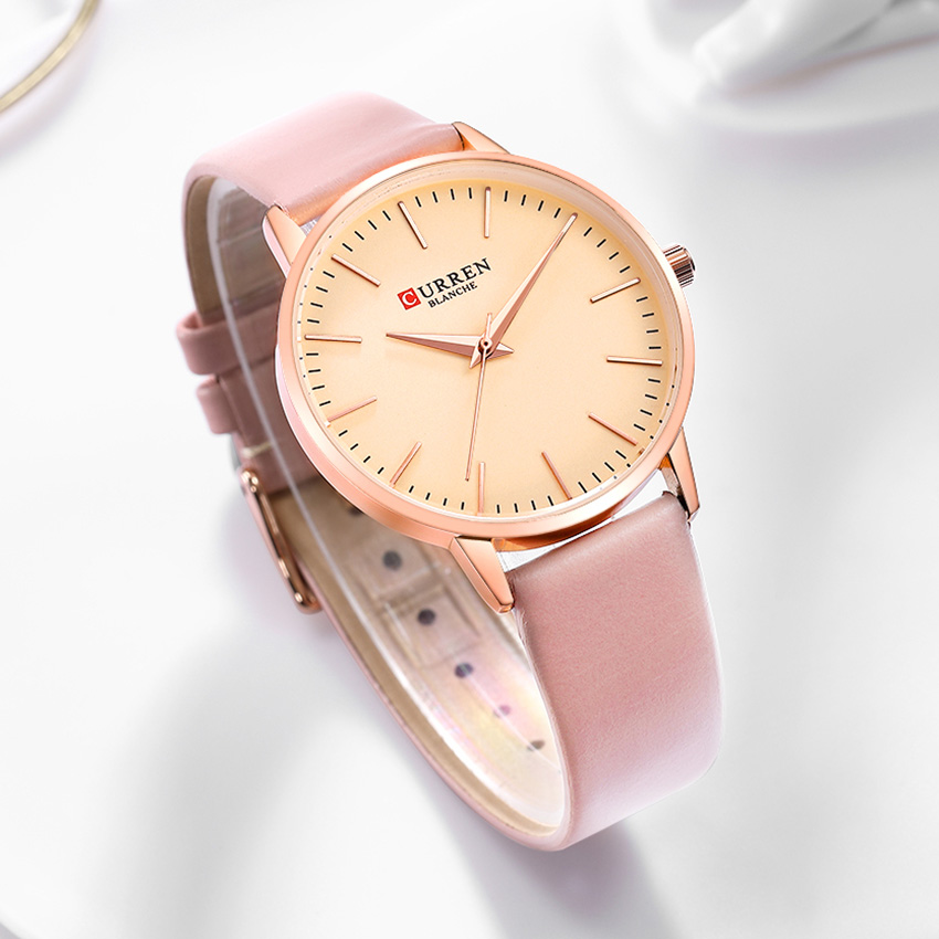 CURREN Women's Watches Brand Luxury Fashion Ladies Watches Pink Elegant Women's Wristwatch Ultra Thin Woman Watch Leather Wrist(China)