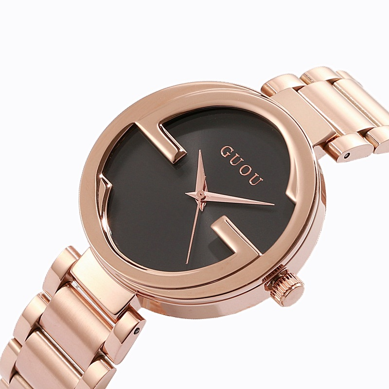 Fashion Guou Brand Unique Women Luxury Rose Gold Steel Quartz Casual Wrist Watch Relogio Feminino Lady Ladies Dress Hours Clock