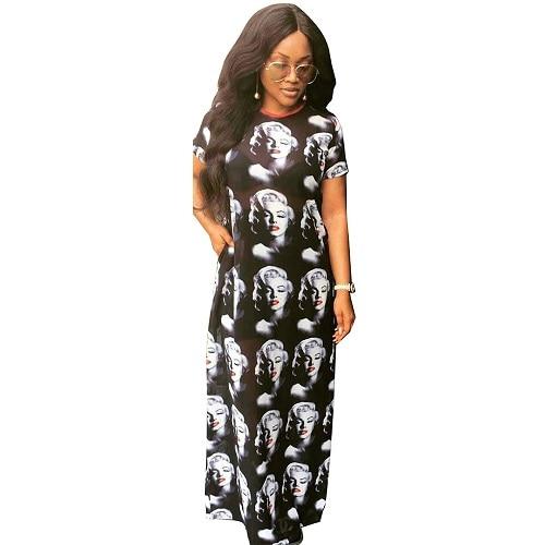 New Fashion Vintage Print Marilyn Monroe Dress Straight Floor Length O Neck Mesh