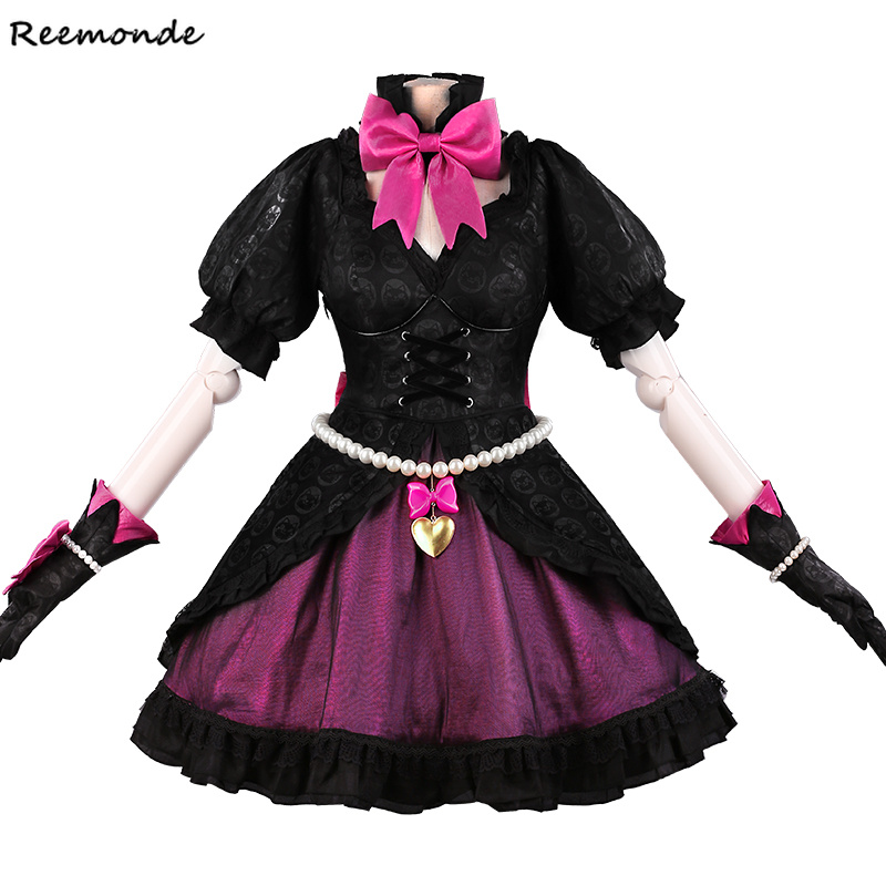 Game OW D.VA Cat Luna Cosplay Costume Black Fancy Bowknot Lolita Dress Costumes Party Synthetic Wigs Hair For Adult Women Girls