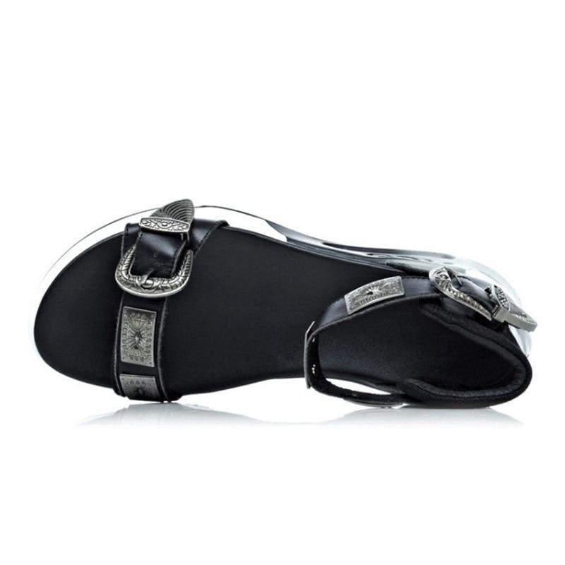 Metal De Fondo Grueso Cuero Mujer Negro Vacaciones Sandalias Zapatos blanco Club Planos Taoffen 34 Fiesta Casual 2019 Tamaño Hebilla 39 Moda Stpdxqw0
