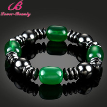 Lover Beauty Green Beads Brazil black Magnet stone magnetic therapy bracelet Unisex Weight Loss Health care magnetic bracelet -E