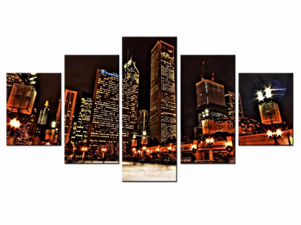 Wholesale Canvas Printings City Landscape 5 Piece Modern Style Cheap Pictures Decorative Wall Art Framed Prints Gift/City-102