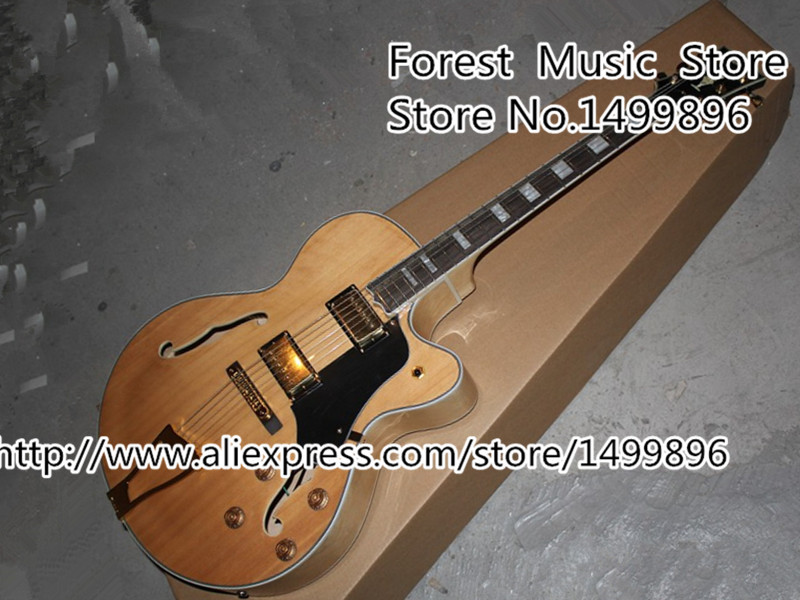 Top Selling Natural Wood LP Custom Jazz Electric Guitars China OEM Hollow Body Guitar Left Handed Custom Available high quality flag custom finish left handed es electric guitars china hollow body