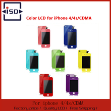 Replacement Colorful LCD Display with Touch Screen Digitizer For iPhone 4 4G 4S +home button + Back Housing with free shipping