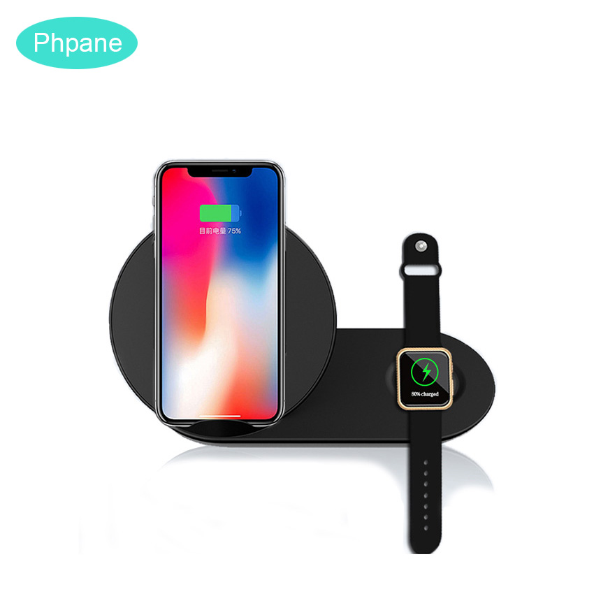 <font><b>QI</b></font> Fast Dual Wireless Charger Duo Pad For iPhone 11 <font><b>Watch</b></font> Samsung Galaxy <font><b>Watch</b></font> Docking Induction Charging Cradle Station Stand image