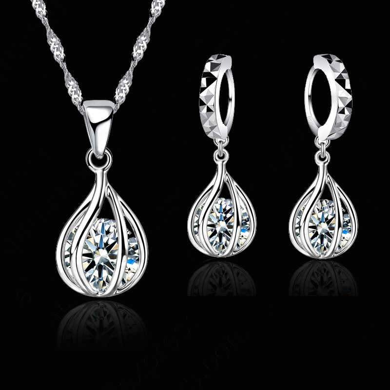 Charming 925 Sterling Silver Jewelry Set For Women Round Cage Shape Crystal Pendant Necklace Earrings wholesale Retail