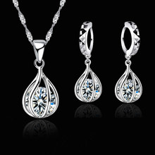 Charming 925 Sterling Silver Jewelry Set For Women Round Cage Shape Crystal Pendant Necklace Earrings wholesale Retail(China)