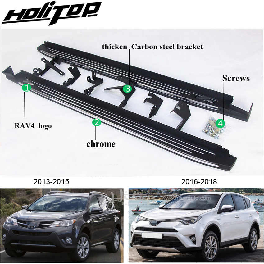 OLIKE for Toyota RAV4 2019 2020 Fashion Style Stainless Steel Door Sill Scuff Plate Guard Sills Protector Trim