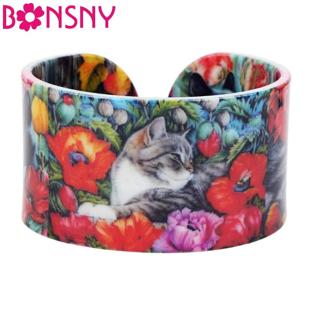 Bonsny Plastic Colorful Elegant Cat Kitten Bangles Bracelets Fashion Craft Jewelry For Women Girl Animal Accessories Wholesale
