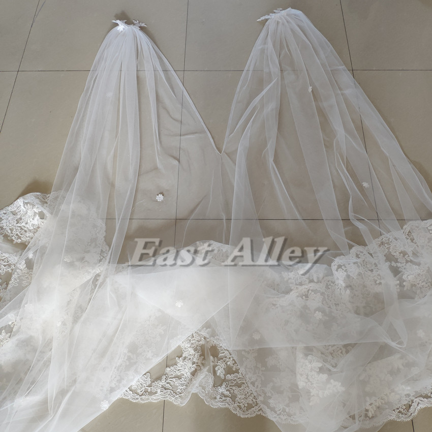 Image 4 - New Cathedral Length Bridal Cape Cloak Lace Long Wedding Dress Accessory in White,Off white,Ivory-in Wedding Jackets / Wrap from Weddings & Events