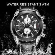 Megir marca caliente de hombre de moda reloj de cuarzo analógico relojes hombres cronógrafo casual horas reloj de pulsera de cuero de lujo luminoso masculina