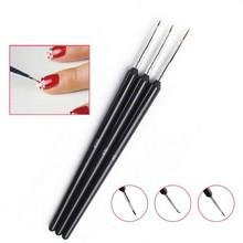 3pcs/set Nail Art Liner Drawing Dotting Painting UV Gel Brush Black Handle 0#/00#/000# Manicure liner Pen Tools NB-02