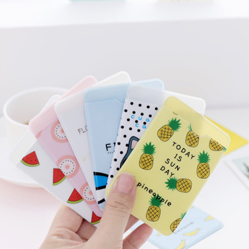 1PC Small Fresh Cute ID Card Holder Case Cartoon Business Bus Bank Credit Card Cover Transparent PVC For Student Kid Women