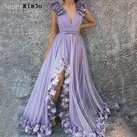 SuperKimJo цветы ручной работы нарядное платье лавандового цвета 2019 Гала Jurken Линия Тюль Элегантный фиолетовый платье для выпускного вечера Vestidos