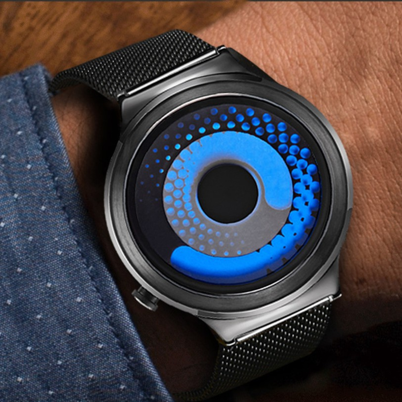 все цены на Smalody Swirl Pointer Quartz Wristwatch Creative Rotation Wrist Watch Stainless Steel Mesh Strap Sport Watch Clock Men Watches онлайн
