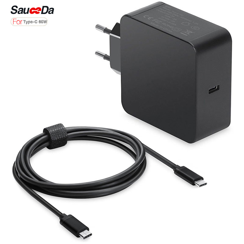65w Wall Charger Type C Eu Plug Power Supply Laptop