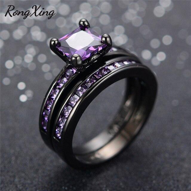RongXing Elegant Purple Zircon Wedding Ring Set Vintage Fashion
