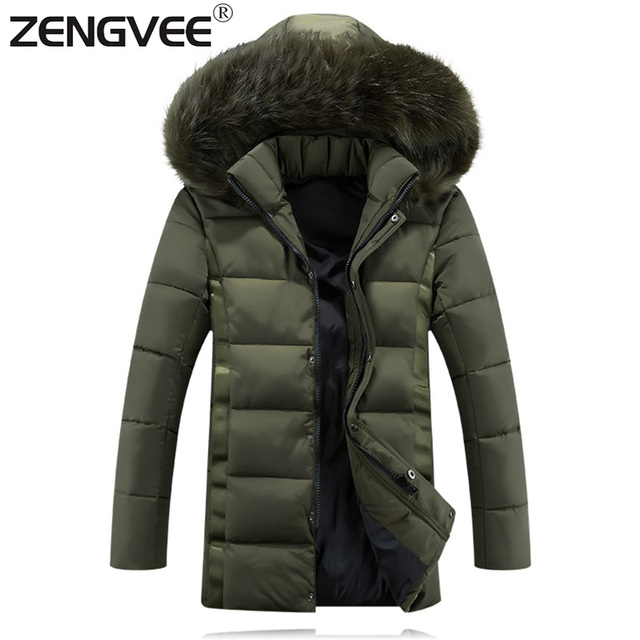 New Brand Clothing Mens Padded With Hooded Outdoorwear Windbreaker Overcoat Thicken Zipper Winter Jacket Men