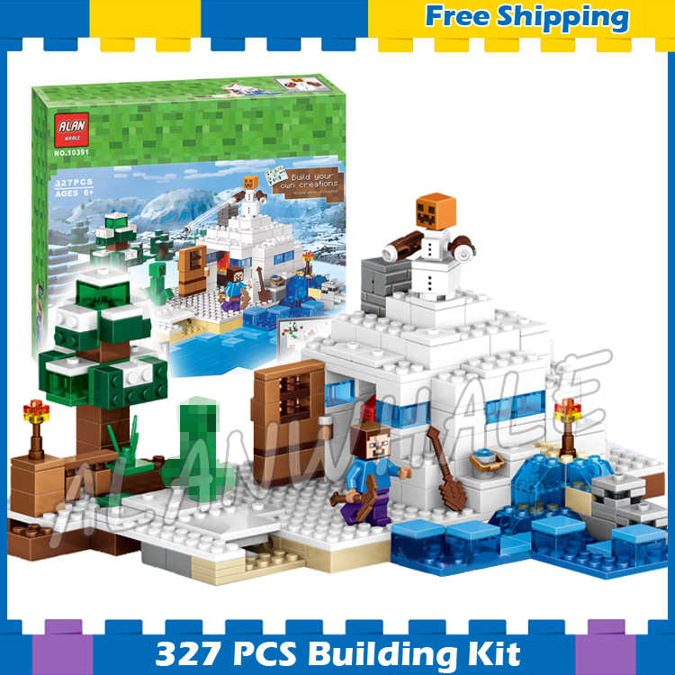 333pcs My World The Snow Hideout Adventure Game 10391 Model Building Blocks Assemble Toy Bricks Compatible with Lego Minecrafted