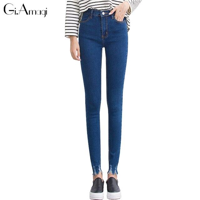 47c1d65a44 Azul escuro Calça Jeans de Cintura Alta Mulheres Magras Jeans Rasgado Calças  Jeans Da Moda Lápis