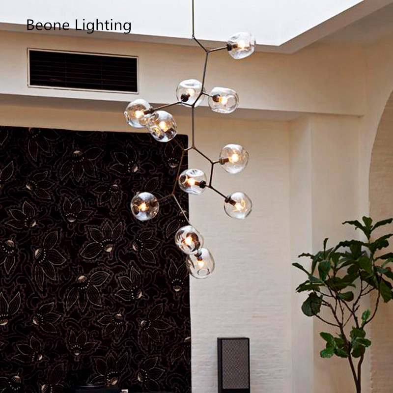 H220cm/H250cm 11 Arms LED Heads Modern Black / Gold Pendant Lights Lamps Nordic stairwell Lights for Living Room Hotel Cafe Bar creative gold silver stainless steel maple leaf shape led pendant lights lamps for hotel living room restaurant dining room cafe