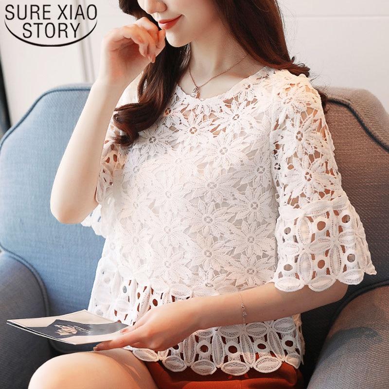 ad880048f54 Корейская модная одежда 2019 harajuku женские блузки Топы женские рубашки  кружева половину с круглым вырезом с
