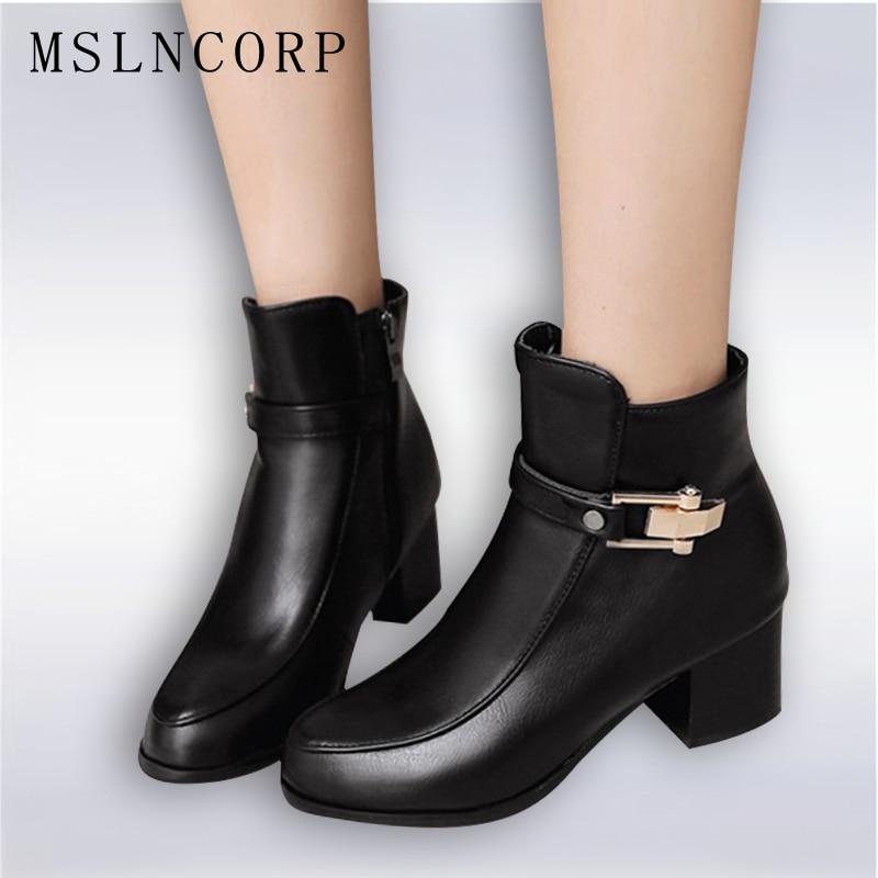 Plus velikost 34-45 Nový podzimní zimní zip Dámské boty Vysoké podpatky Dámské spony Martin Kožené boty Náměstí podpatku Snow Boots Shoes
