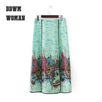 Venedik şehir Baskılı Kadın Elbise Klasik Güzel Boyama Tarzı