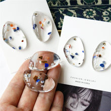 HUANZHI 2019 New Japan Sweet Geometric Irregular Transparent Acrylic Waterdrop Stud Earrings for Women Girl Party Jewelry Gift(China)