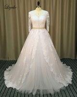 Liyuke Vintage Lace Appliques Ball Gown Wedding Dresses Three Quarter V Neck Beading Sash Romantic Bride